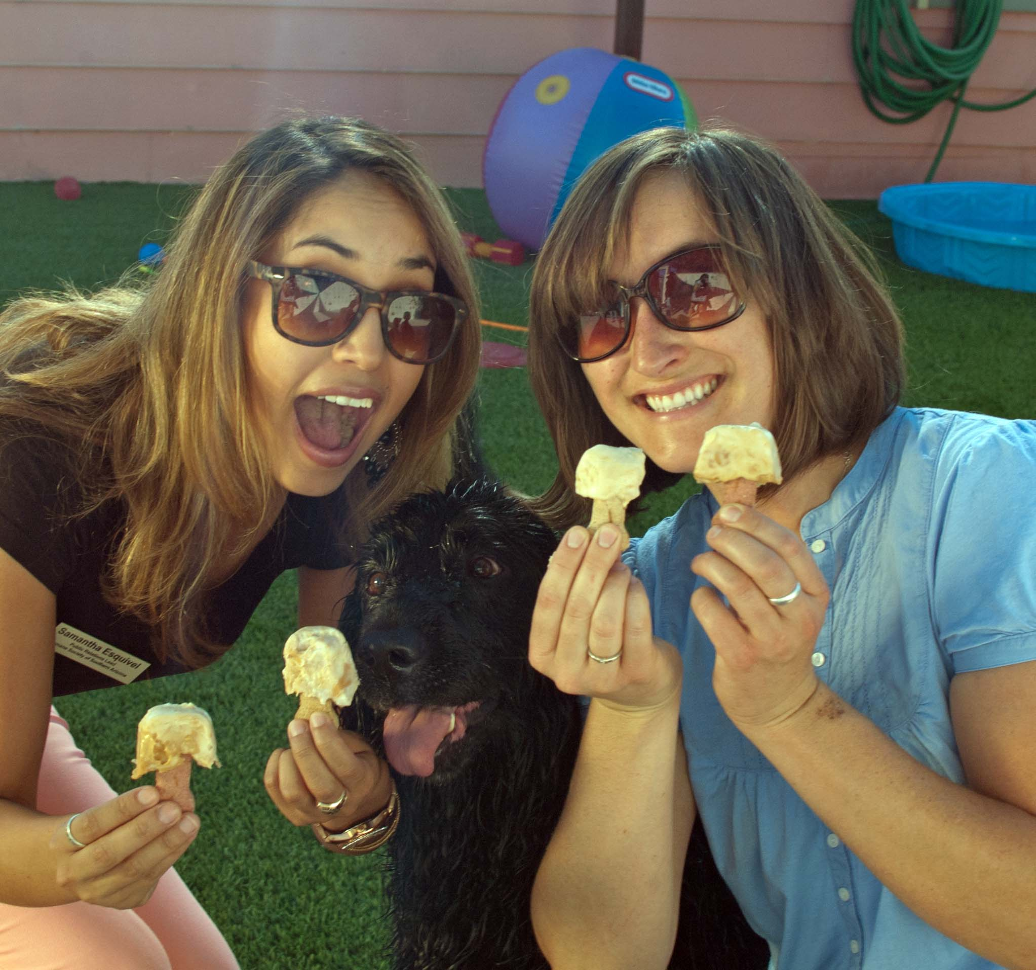 Samantha Esquivel and Sara Gromley from the Humane Society of Southern Arizona share frozen treats with adoptable Benson.