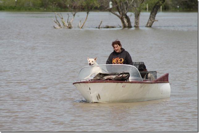 Evacuation by boat.
