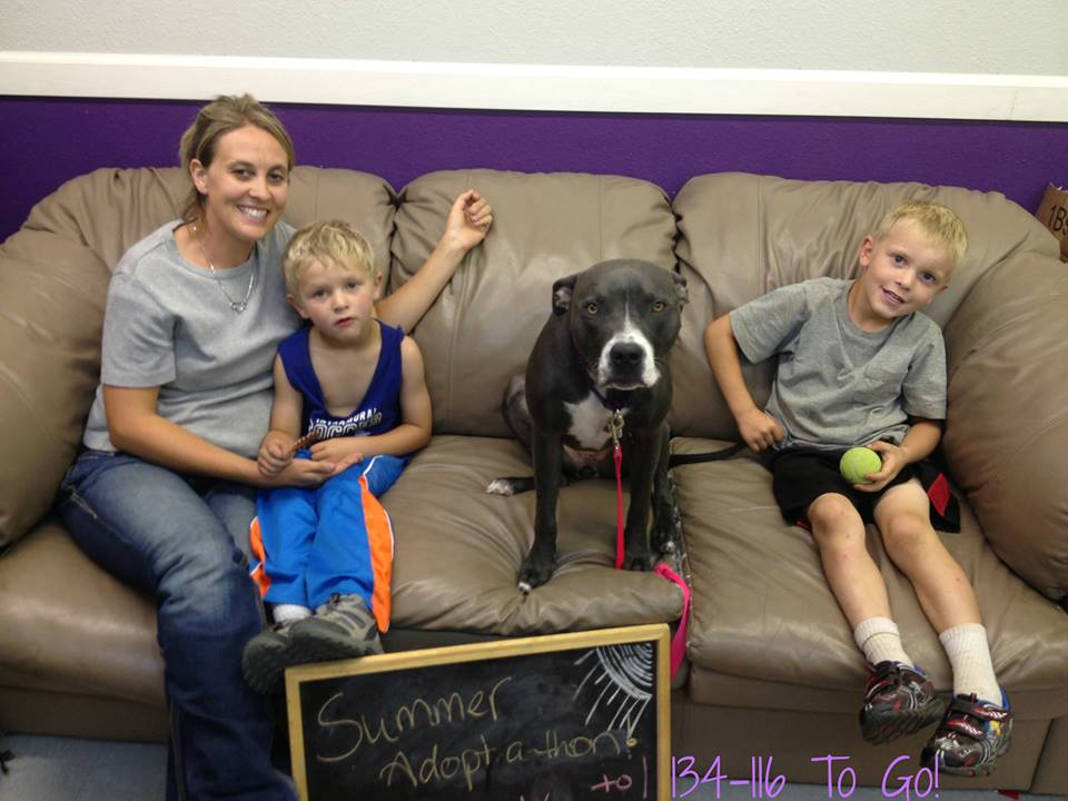 Leah with her new family